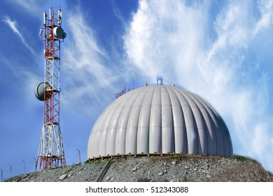 radar dome technology on the background of blue clouds