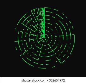 Radar illustration on black background