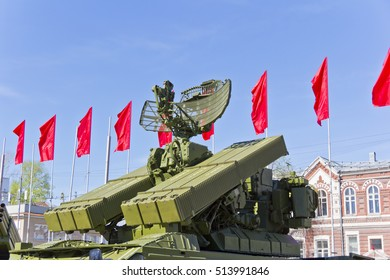 Radar of military machine at the exhibition under open sky