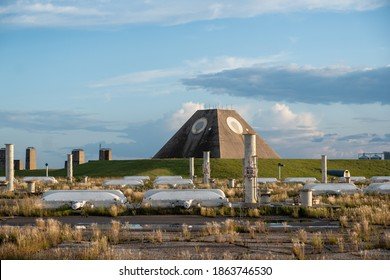 The radar pyramid and Spartan missile fields at the Stanley R. Mickelsen Safeguard Complex Nekoma, North Dakota.