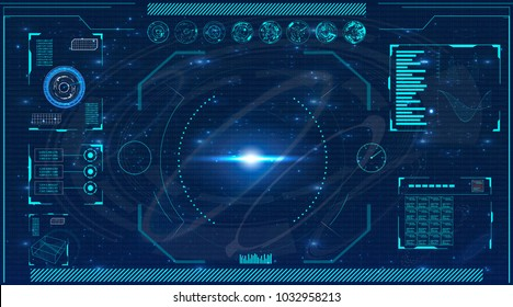 Radar screen. Elements for HUD interface. Vector illustration for your design. Technology background.Futuristic user interface.