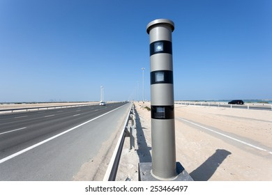 Radar speed control camera at the highway in Abu Dhabi, United Arab Emirates