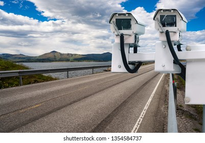 Radar speed control camera on the road
