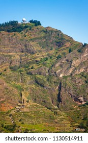 Radar station at the top of Cova Crater mountain. Extinct volcano on Santo Antao, Cape Verde