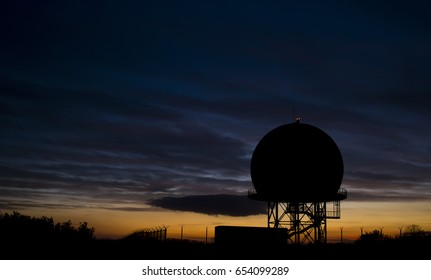 Radar tower in the sunset