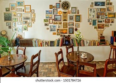 Radauti Suceava Romania - 09 08 2019 Trees cafe interior tea house