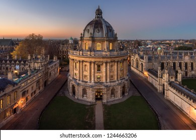 Radcliffe Camera, Bodleian Library, Oxford University, Oxford, Oxfordshire, England, United Kingdom - November 19,2018 - viewed from the top tower of St Marys Church during twilight time