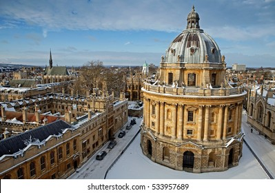 Radcliffe Camera building, Lincoln College, Exeter College, Oxford, UK