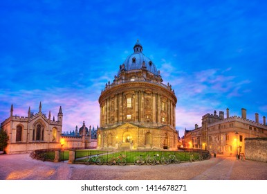 Radcliffe Camera at dusk, Bodleian Library, Oxford University, Oxford, Oxfordshire, England, United Kingdom