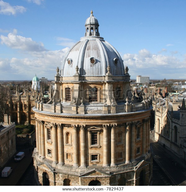 Radcliffe Camera and Radcliffe square viewed from St mary the virgin church Oxford