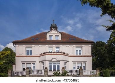 RADEBERG, GERMANY - JUNE 4 2016: Villa Storchennest. Botanical Garden in Radeberg.