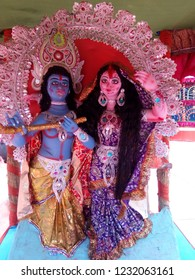 Radha & Krishna. The bond of love between these gods. Famous Hindu God. Blue Krishna God is symbol of love.