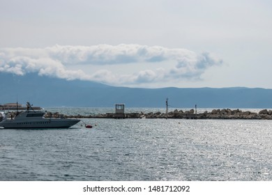 Radhime, Vlore, Albania - April 2019: Italian Guardia di Finanza boat docked at an Albanian police harbor to help Albanian police patrolling their territorial waters from criminals and drug dealers.
