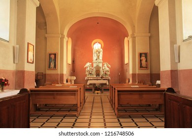 RADHOST HILL, CZECH REPUBLIC - OCTOBER 21: interior of the church of Saint Cyril and Metodej on Radhost hill, Beskydy mountains, Czech Republic, October 21, 2018