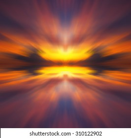 Radial blur effect of sunset  color.