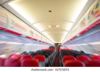 Radial blur interior of the passenger airplane