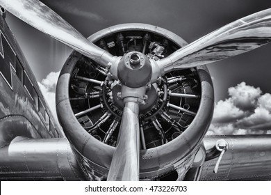 Radial engine of an aircraft. Close-up. Black and white.