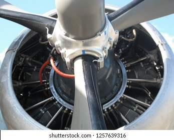 8ad2de7c647c Radial engine of a vintage aircraft with a three blade prop. The engine  appears to
