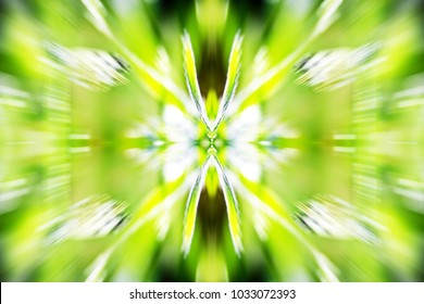 Radial motion symmetrical abstract artwork background. Blurred zoom movement effect with vivid watercolor smooth swooshes, tones of color, brown, white, yellow, green. Colorful graphicdesign backdrop