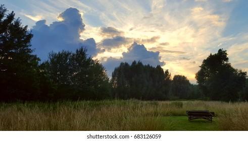 Radiant Landscape Sunset