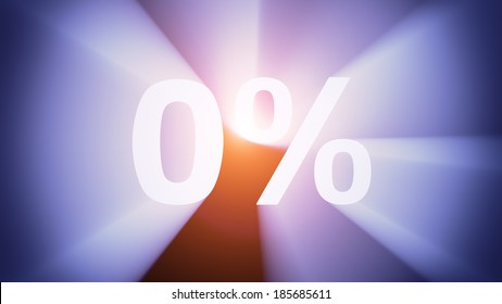 """Radiant light from the symbol """"0%"""""""
