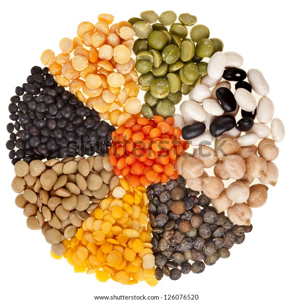 radiate background , rays of different mix set beans, legumes, peas, lentils isolated on white