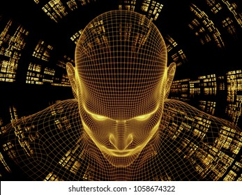 Radiating Mind series. 3D rendering design of wire-mesh model of human head and fractal pattern on the subject of human mind, artificial intelligence and virtual reality