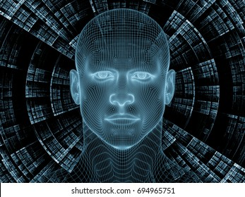 Radiating Mind series. 3D rendering design made of wire-mesh model of human head and fractal pattern on the subject of human mind, artificial intelligence and virtual reality