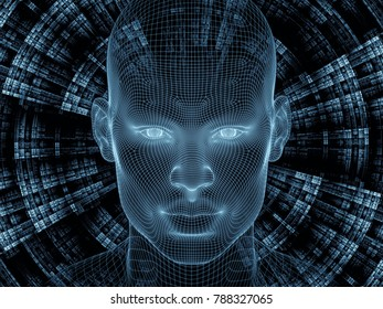 Radiating Mind series. 3D rendering of wire-mesh model of human head and fractal pattern as a concept metaphor on subject of human mind, artificial intelligence and virtual reality
