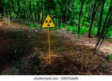 Radiation hazard sign in Pripyat, a ghost town in northern Ukraine, evacuated the day after the Chernobyl disaster on April 26, 1986