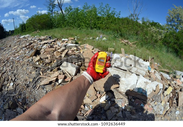 Radiation Measurment On Illegal Junk Dump Stock Photo (Edit Now