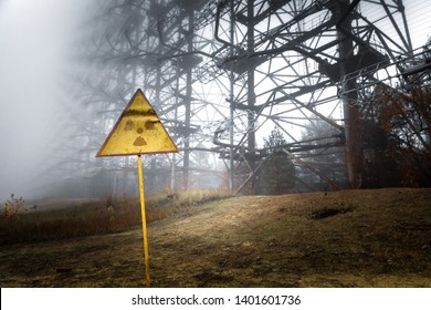 Radiation sign near Duga antenna complex, Chernobyl