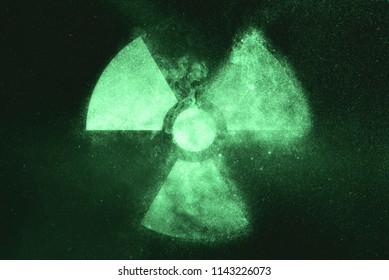 Radiation sign, Radiation symbol. Green symbol