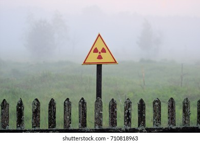 Radiation warning sign in the area of radioactive fallout