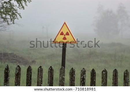 Radiation warning sign in