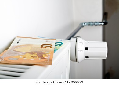 Radiator and Euro. Money on heating battery.