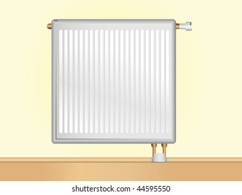 Radiator on beige wall.