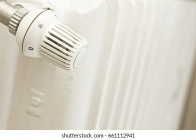 Radiator with thermostat at low temperature