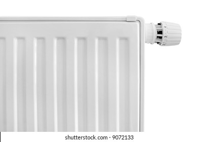 Radiator with thermostat set on white background