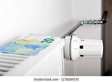 Radiator and Twenty Euro. Money on heating battery.