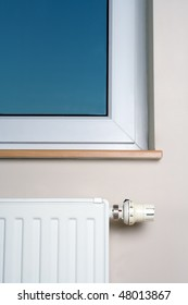 Radiator and window in home interior