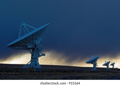 Radio antennas forming part of the Very Large Array astronomical radio observatory in New Mexico.