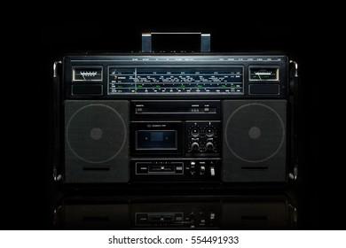 Radio boom box on black background