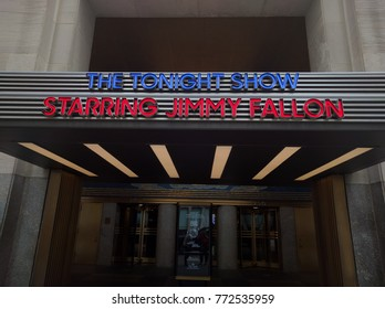 Radio City Music Hall, New York City, USA - March 8, 2016 - The Tonight Show with Jimmy Fallon Entrance Sign