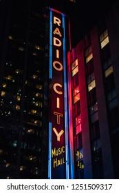 Radio City Music Hall at night, in Manhattan, New York City