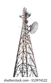Radio communication tower isolated on white background weathered with some rust