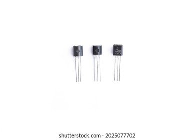 Radio components, old transistors isolated on white background
