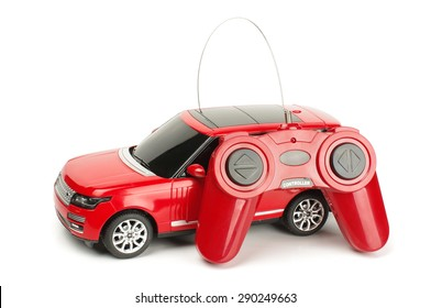 Radio controlled car with control joystick isolated on the white background