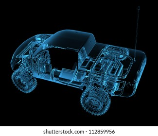 Radio controlled R/C toy car (3D xray blue transparent)