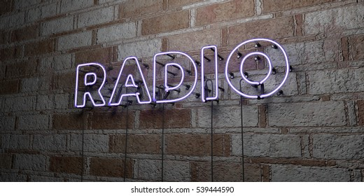 RADIO - Glowing Neon Sign on stonework wall - 3D rendered royalty free stock illustration.  Can be used for online banner ads and direct mailers.